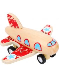 Avión de madera retráctil